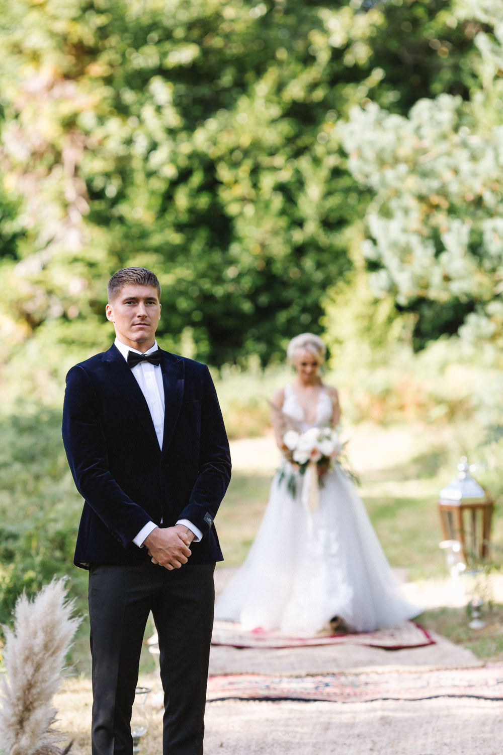 Groom Suit Tux Tuxedo Bow Tie Boconnoc Wedding Debs Alexander Photography
