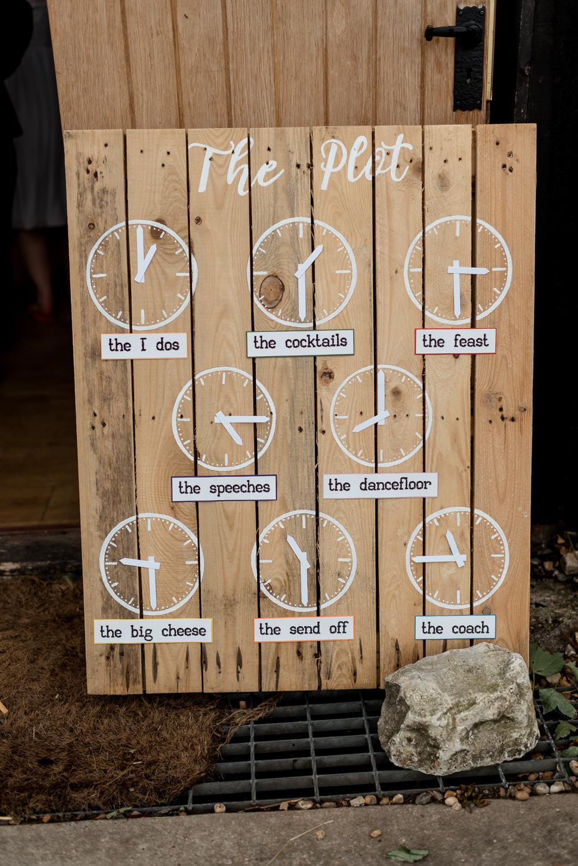 Sign Signs Signage Order of the Day Clocks Bonhams Barn Wedding Will Patrick Photography