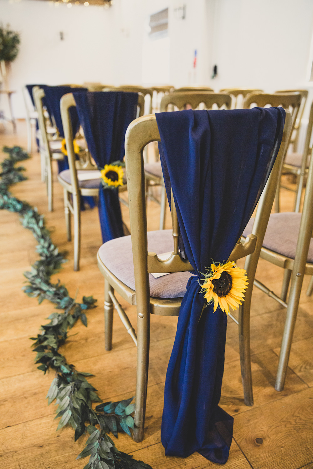 Ceremony Flowers Sunflowers Chairs Aisle Pew EndBurley Manor Wedding Becky Bailey Photographer