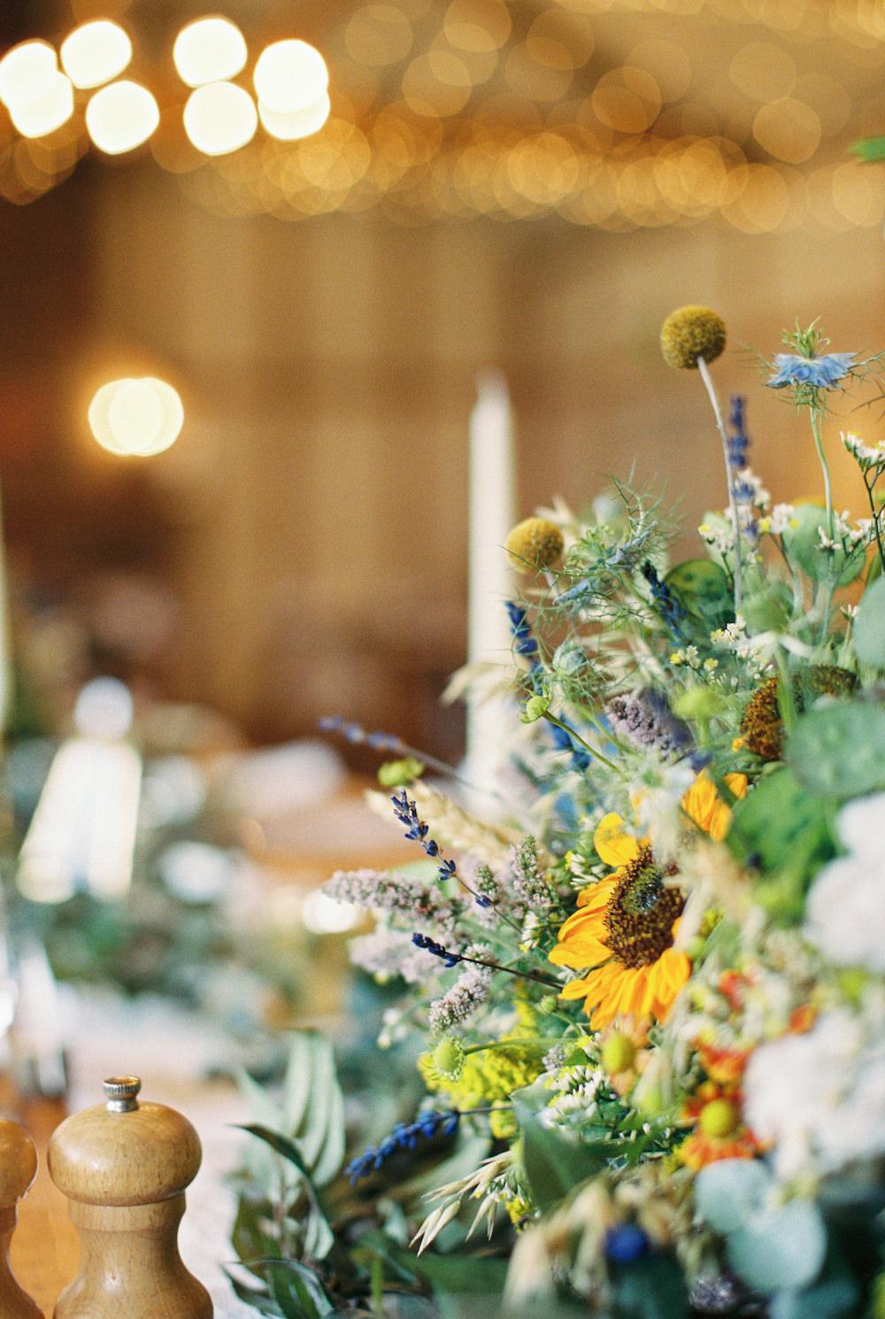 Sunflower Centrepiece Decor Flowers Burley Manor Wedding Becky Bailey Photographer