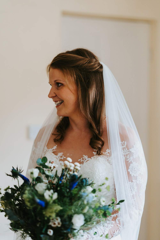 Bride Bridal Hair Style Up Do Half Up Half Down Veil Country Festival Wedding Jonny Gouldstone Photography