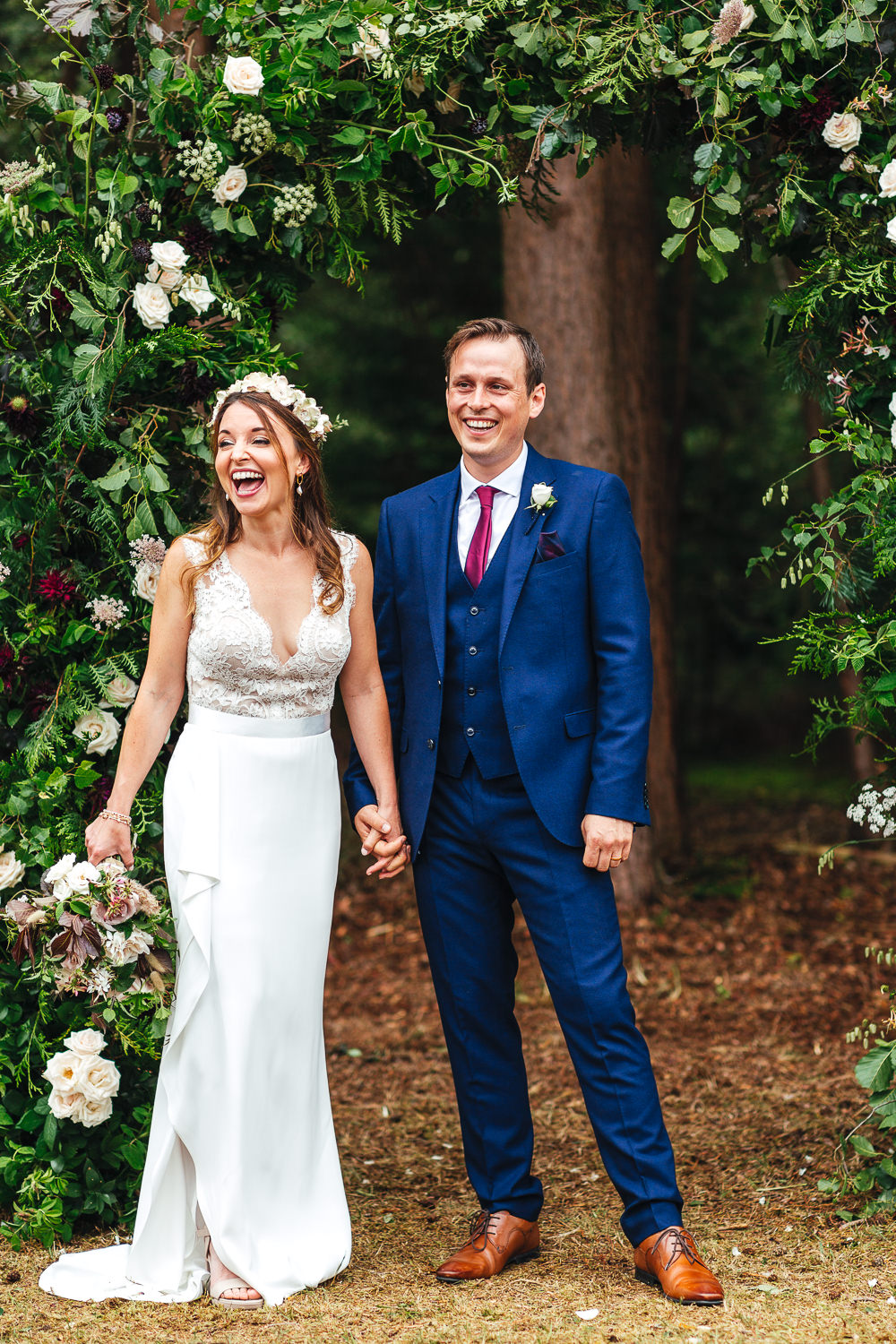 Bride Bridal Dress Gown Suzanne Neville Slinky Lace Plunge Neck Festival Party Wedding Kirsty Mackenzie Photography