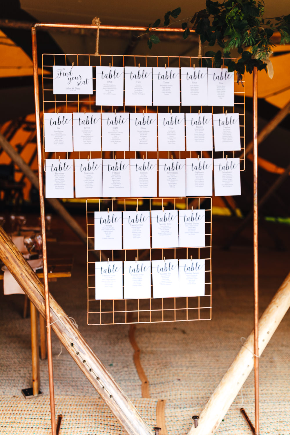 Table Plan Seating Chart Metal Frame Copper Pipe Festival Party Wedding Kirsty Mackenzie Photography