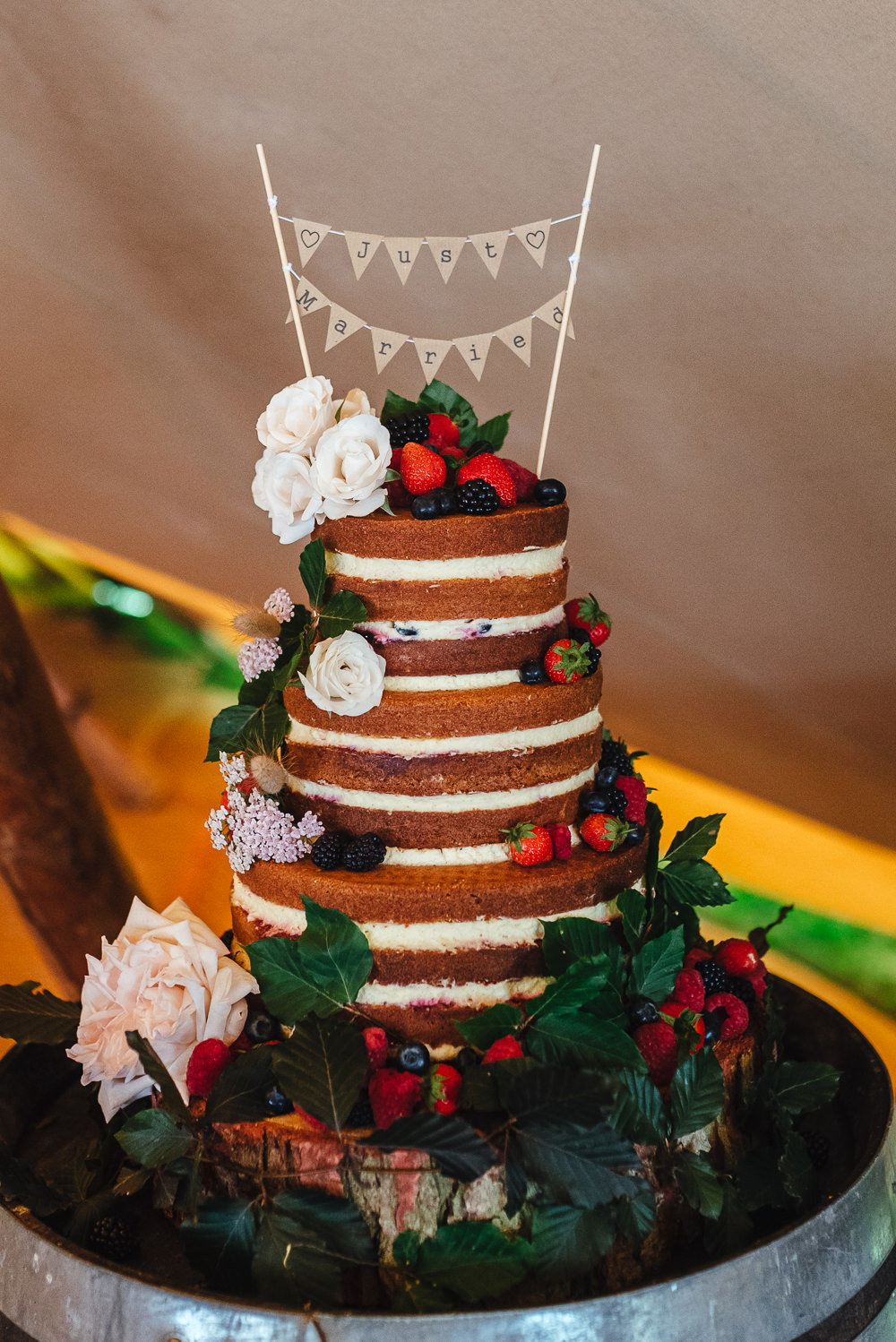 Naked Cake Sponge Layer Berries Flowers Bunting Topper Festival Party Wedding Kirsty Mackenzie Photography