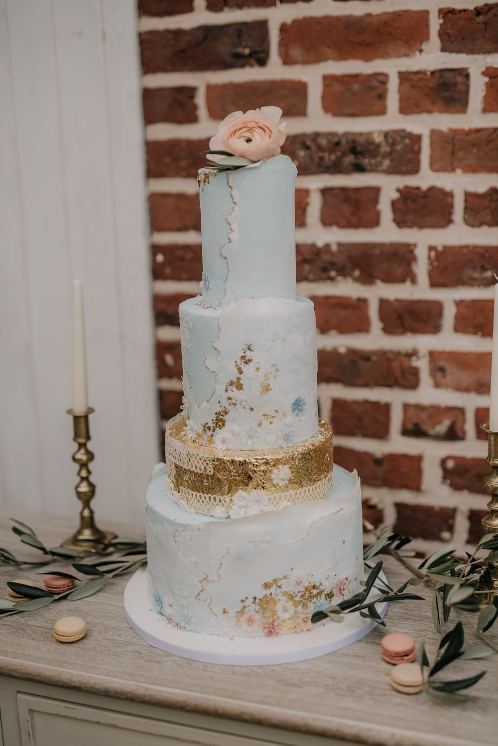Cake Tall Iced Gold Leaf France Elopement Ideas Pierra G Photography