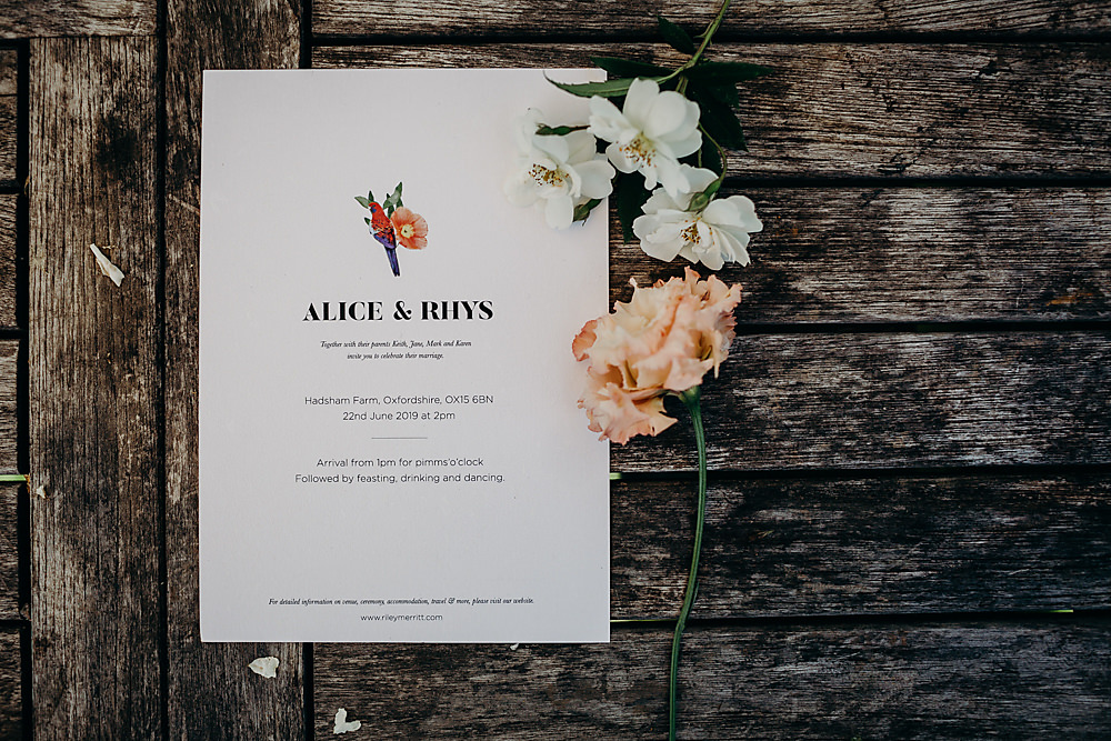 Stationery Invite Invitation Floral Hadsham Farm Wedding Victoria Somerset How Photography