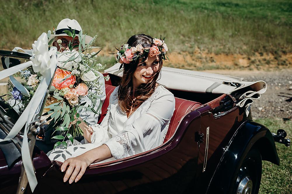 Vintage Classic Car Transport Hadsham Farm Wedding Victoria Somerset How Photography