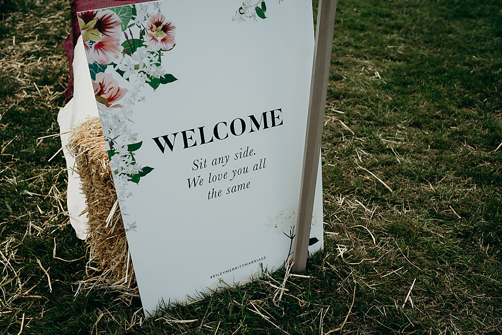 Welcome Sign Signs Signage Floral Hadsham Farm Wedding Victoria Somerset How Photography