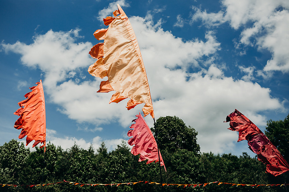 Festival Flags Hadsham Farm Wedding Victoria Somerset How Photography