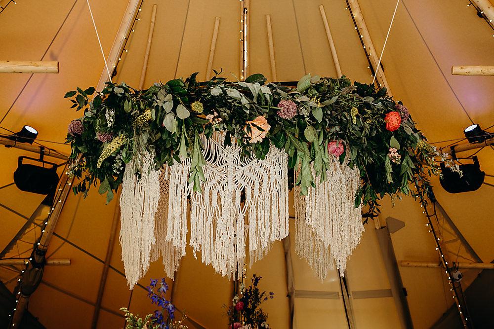 Hanging Hoop Greenery Foliage Macrame Hadsham Farm Wedding Victoria Somerset How Photography