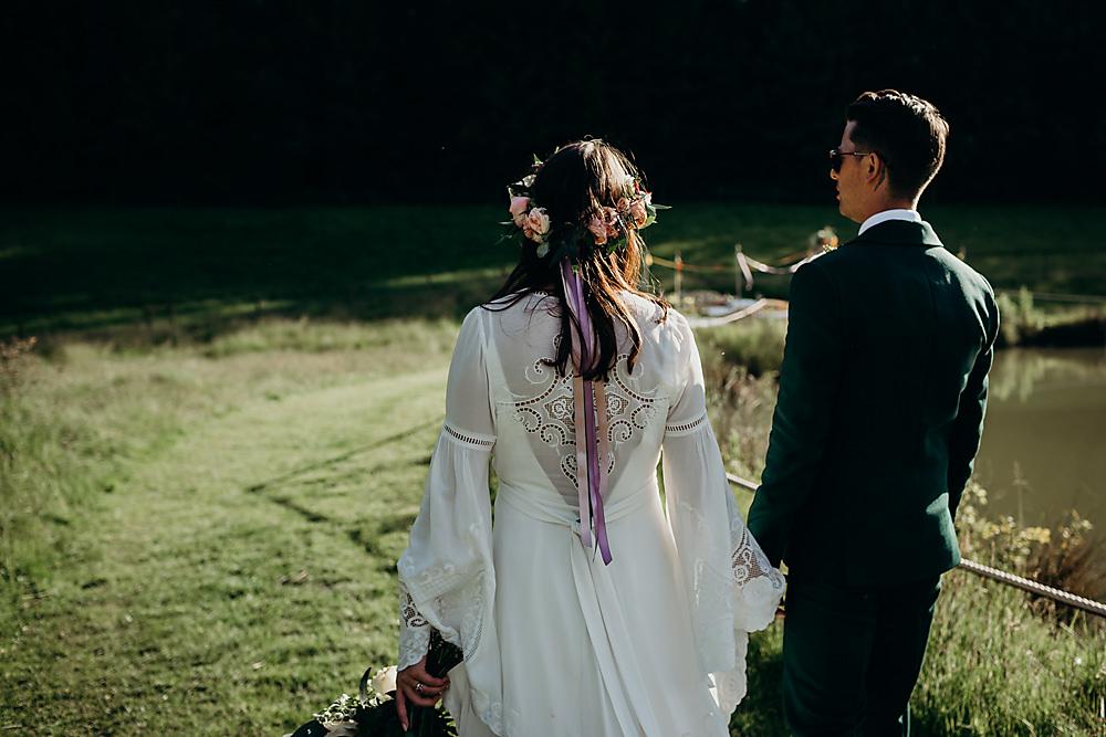 Bride Bridal Flower Crown Ribbons Hadsham Farm Wedding Victoria Somerset How Photography