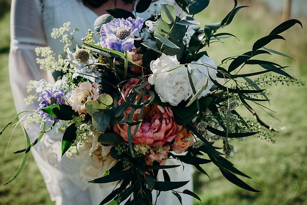 Bouquet Flowers Bride Bridal Greenery Foliage Peony Rose Hadsham Farm Wedding Victoria Somerset How Photography