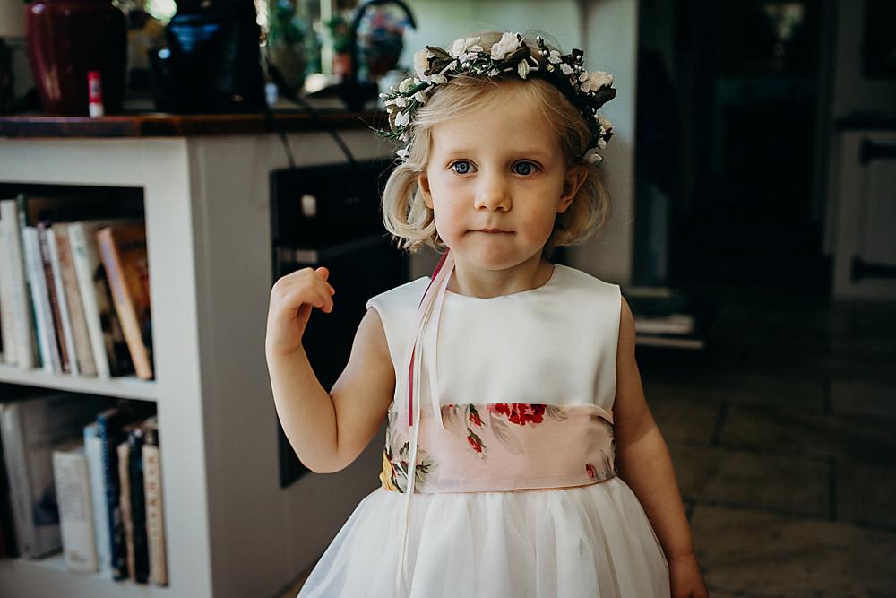 Flower Girl Flower Crown Dress Hadsham Farm Wedding Victoria Somerset How Photography