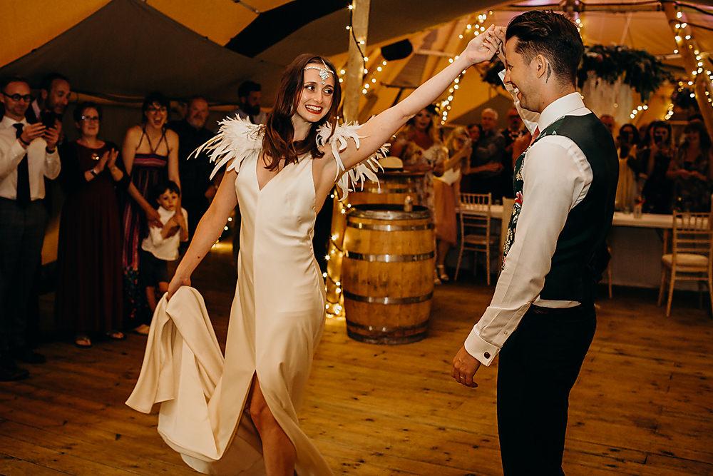 Slinky Slip Dress Gown Bride Bridal Feather Shoulder Hadsham Farm Wedding Victoria Somerset How Photography