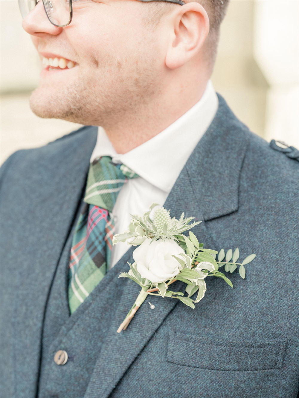 Groom Kilt Suit Tartan Tie Buttonhole Flowers Lockdown Wedding Carn Patrick Photography
