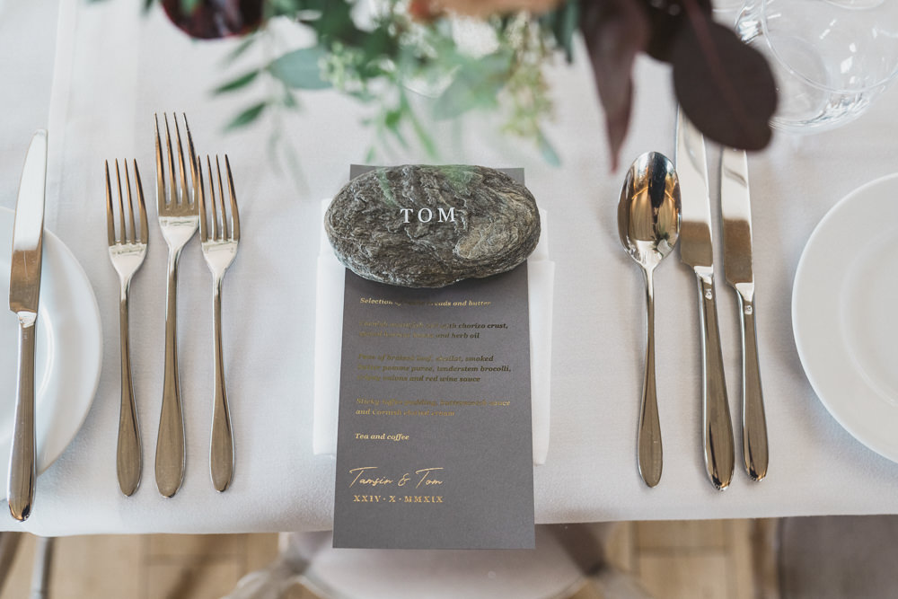 Pebble Place Name Place Setting Menu Modern Romantic Wedding Red Maple Photography