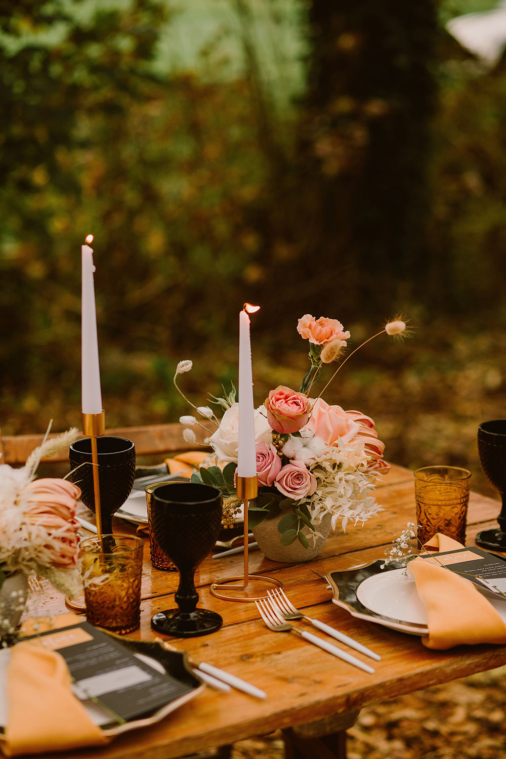 Table Tablescape Decor Decoration Candles Black Mustard Flowers Outdoor Autumn Wedding Ruby Walker Photography