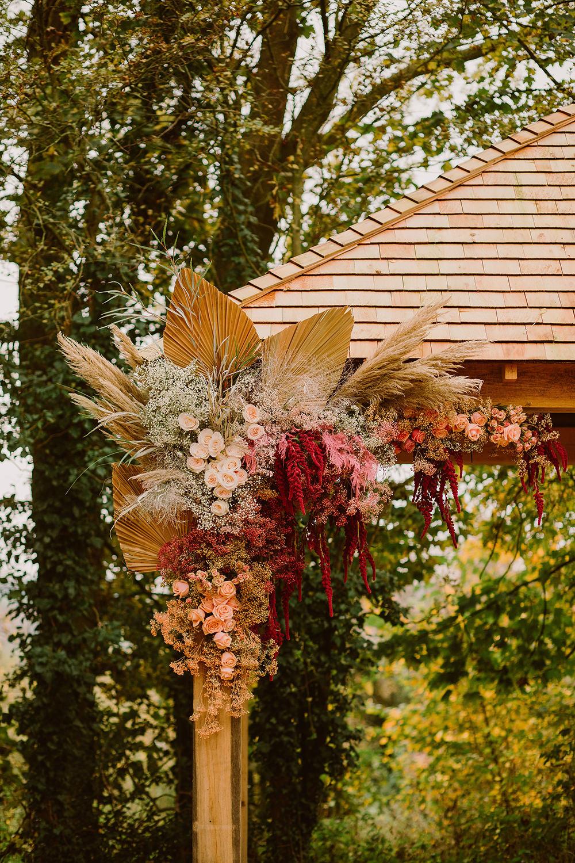 Flower Arrangement Flowers Ceremony Palms Pampas Grass Outdoor Autumn Wedding Ruby Walker Photography