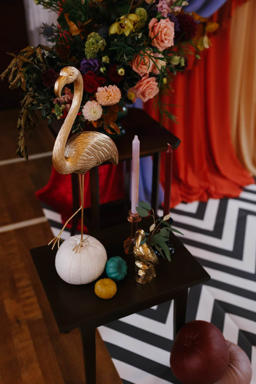 Decor Flowers Flamingo Candles Village Hall Wedding Emily + Katy Photography