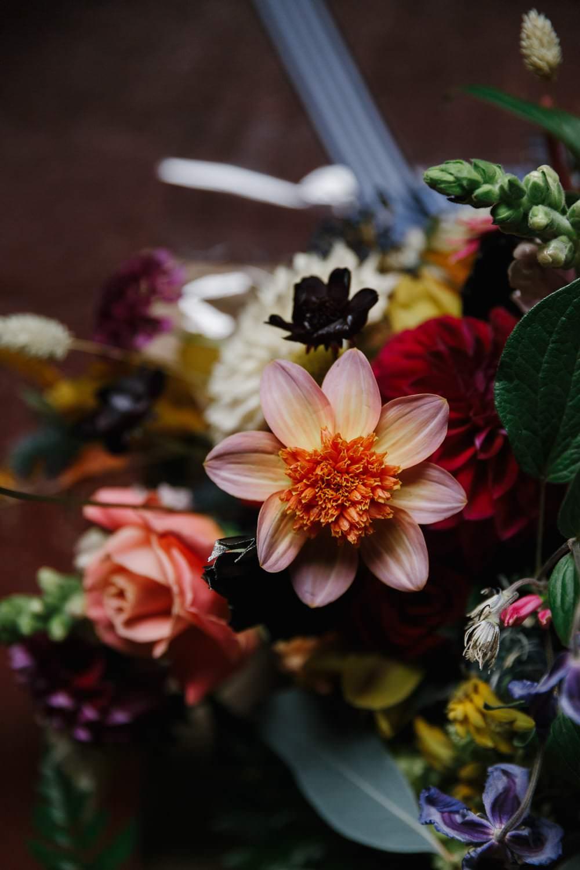 Bouquet Flowers Bride Bridal Coral Rose Dahlia Village Hall Wedding Emily + Katy Photography