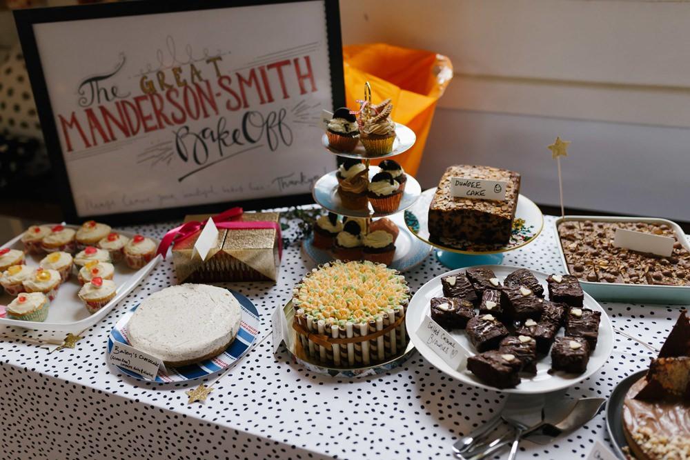 Bake Off Cake Table Dessert Village Hall Wedding Emily + Katy Photography