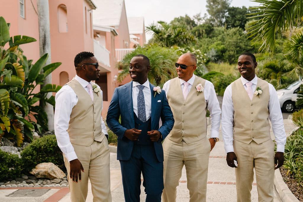 Groom Suit Navy Blue Tie Waistcoat Groomsmen Bermuda Wedding Helen Abraham Photography