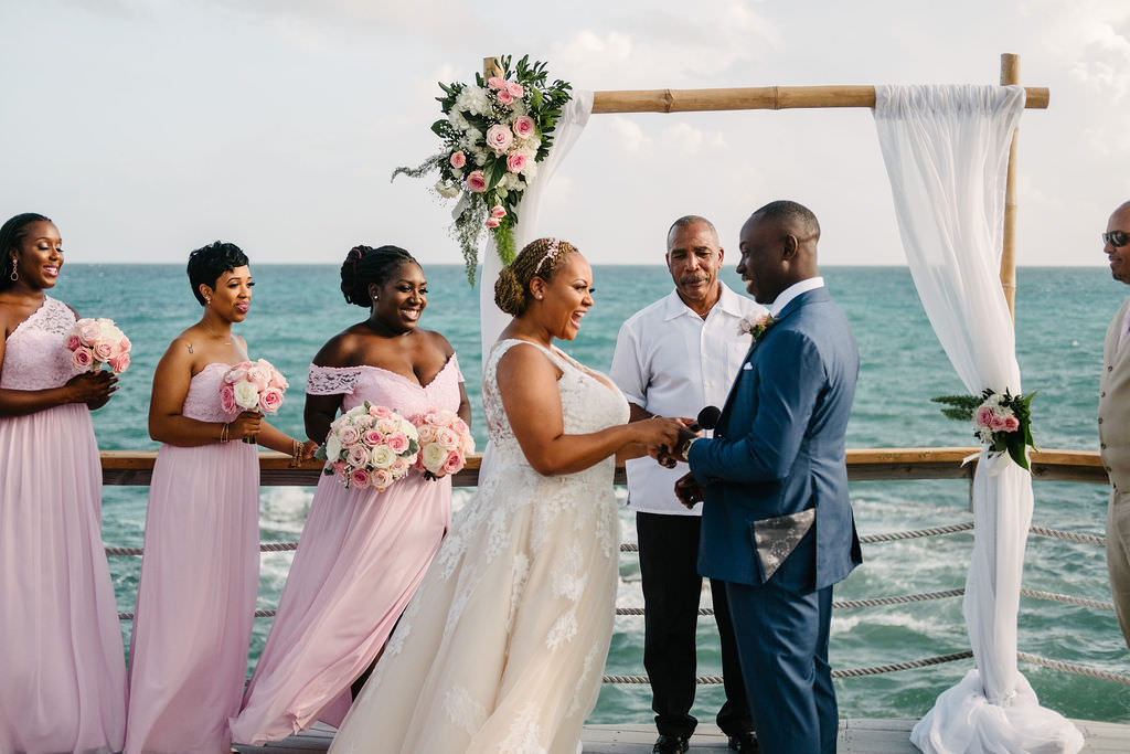 Flower Arch Drapes Fabric Backdrop Ceremony Bermuda Wedding Helen Abraham Photography