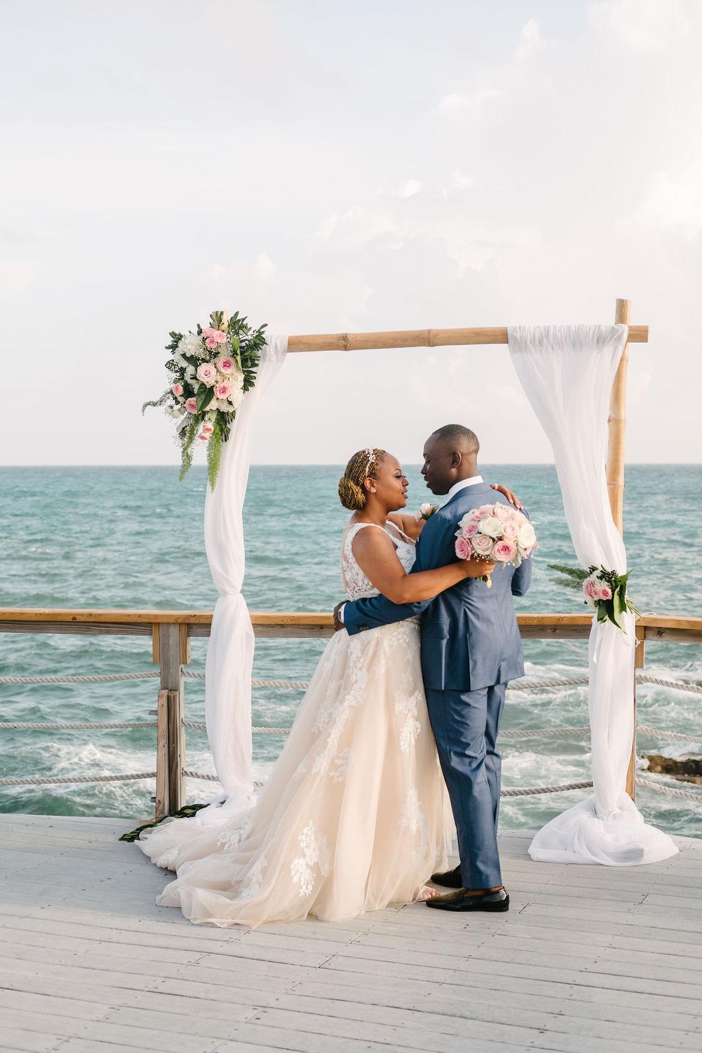 Bermuda Wedding Helen Abraham Photography Flower Arch Drapes Fabric Backdrop Ceremony