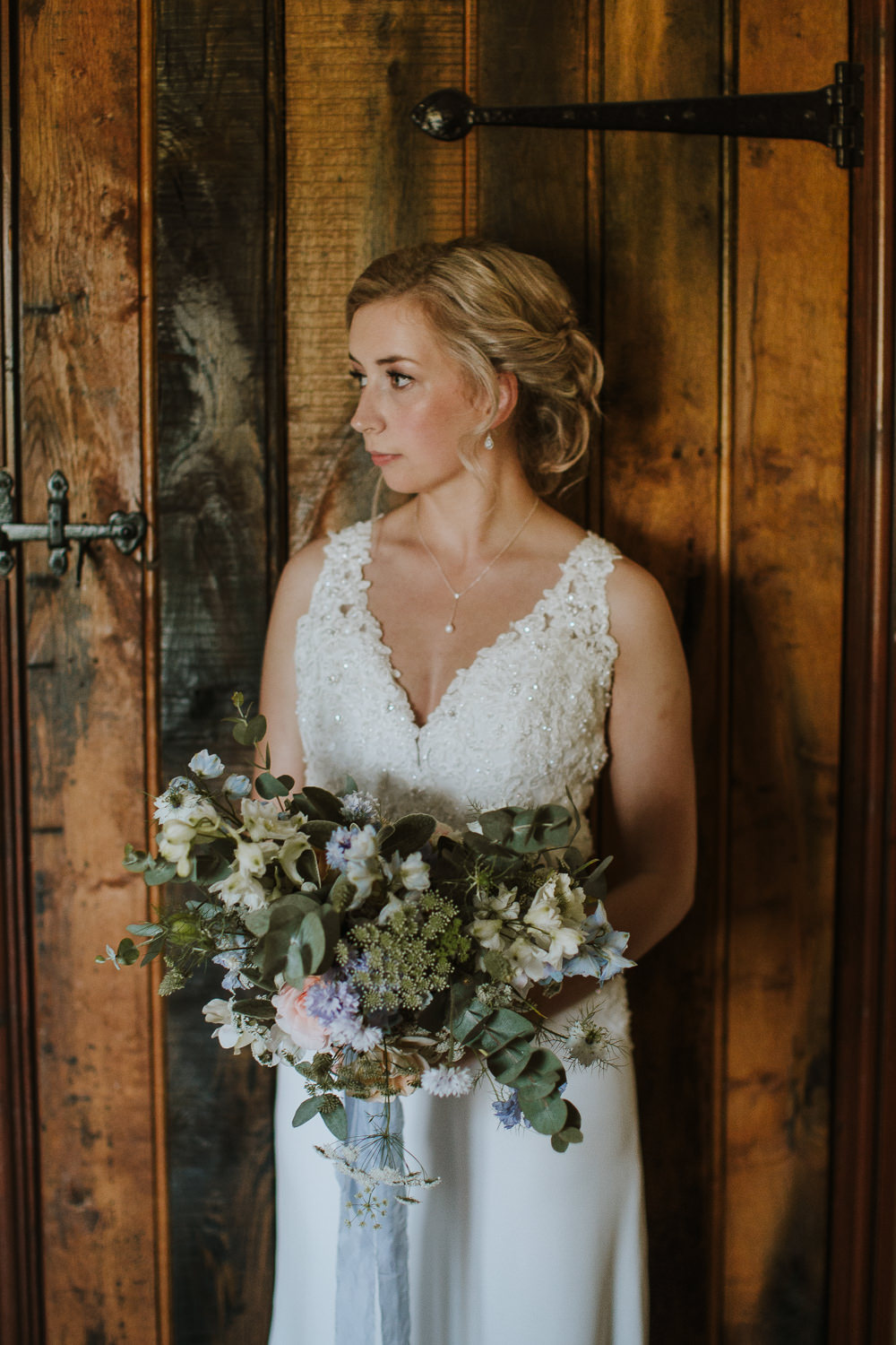 Bride Bridal Dress Gown Lace Open Back Train Crafty Wedding Sam Bennett Photography
