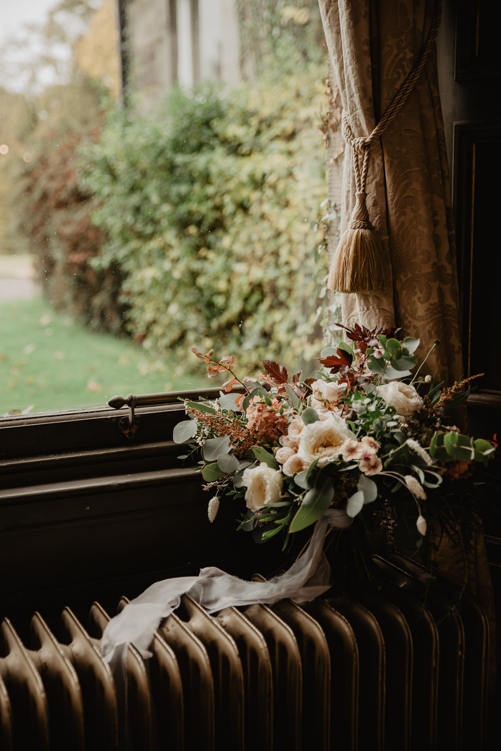 Bouquet Flowers Bride Bridal Ribbon Rose Foliage Greenery Family Farm Wedding Janine Kirkwood Photography