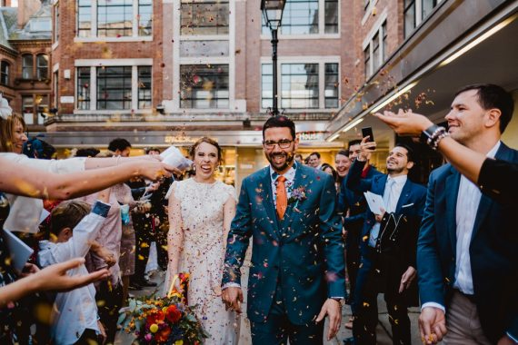 Confetti Throw HOME Manchester Wedding Kate McCarthy Photography