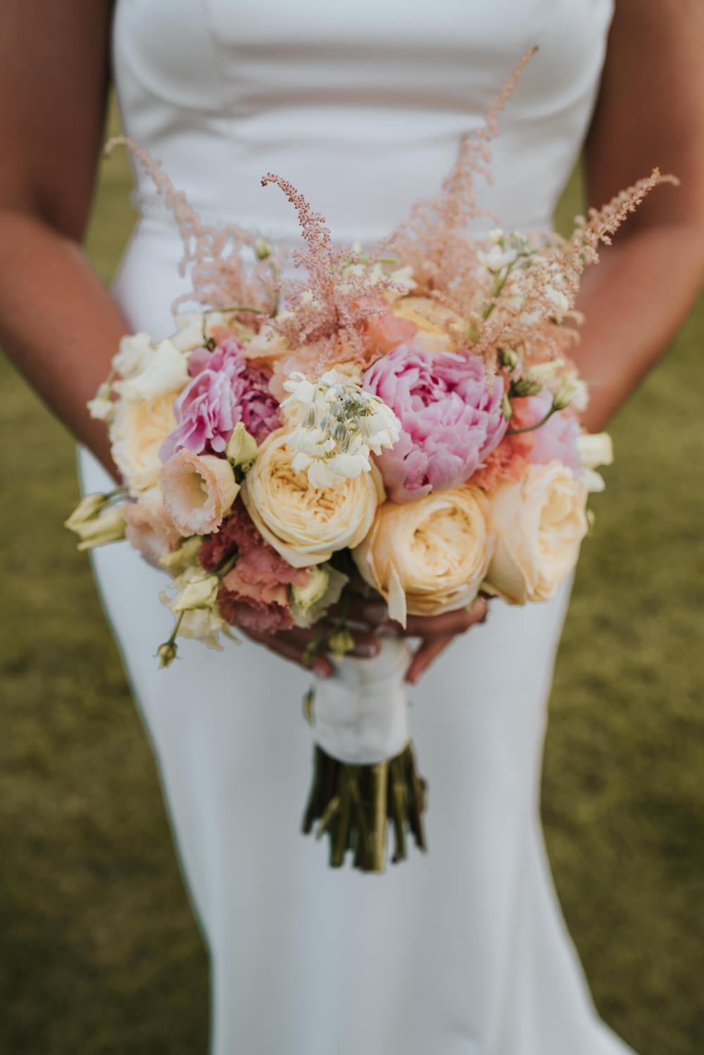 Bouquet Flowers Bride Bridal Bridesmaid Peach Pink Rose Peony Astilbe High House Weddings Grace Elizabeth Photography
