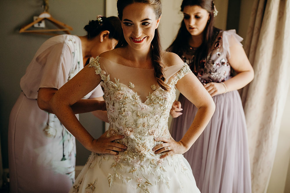 Bride Bridal Dress Gown Ian Stuart Summertime Embroidery Hornington Manor Wedding Richard Skins Photography