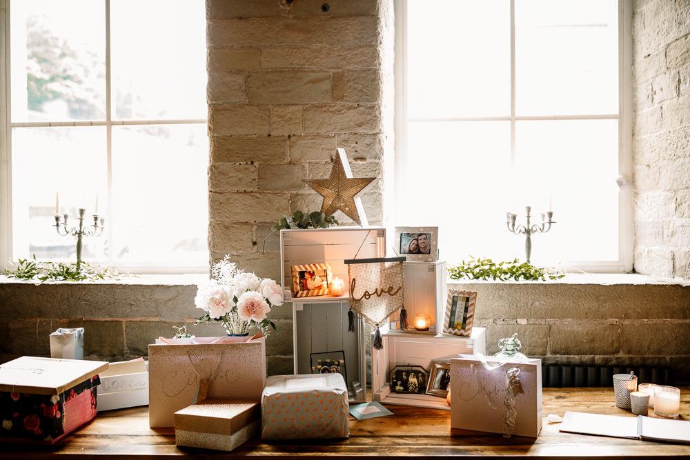 Wooden Box Decor Industrial Mill Wedding Hayley Baxter Photography