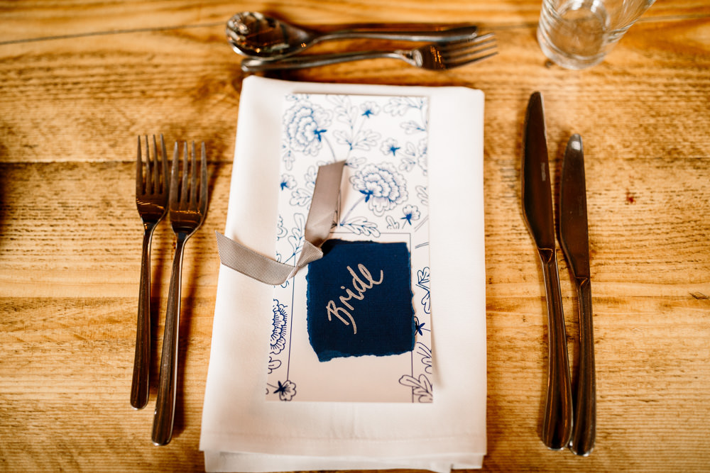 Place Setting Decor Place Name Calligraphy Industrial Mill Wedding Hayley Baxter Photography