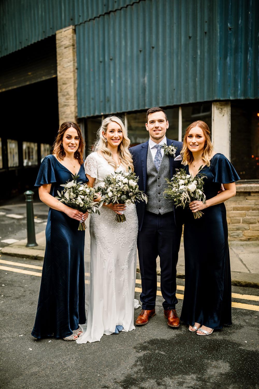Bridesmaids Bridesmaid Dress Dresses Blue Silk Industrial Mill Wedding Hayley Baxter Photography