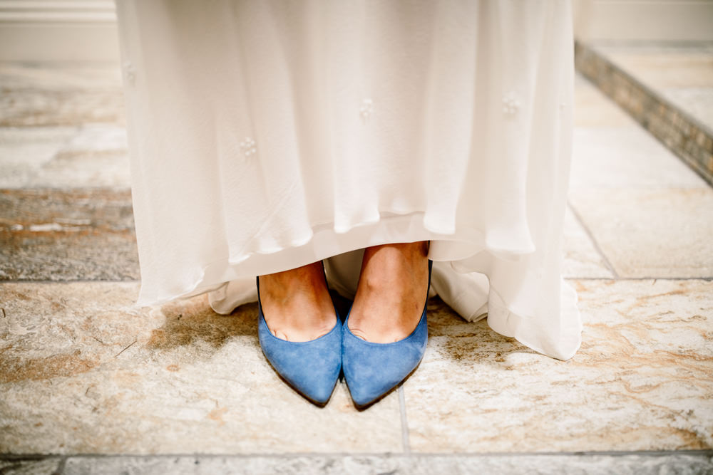 Blue Shoes Bride Bridal Industrial Mill Wedding Hayley Baxter Photography