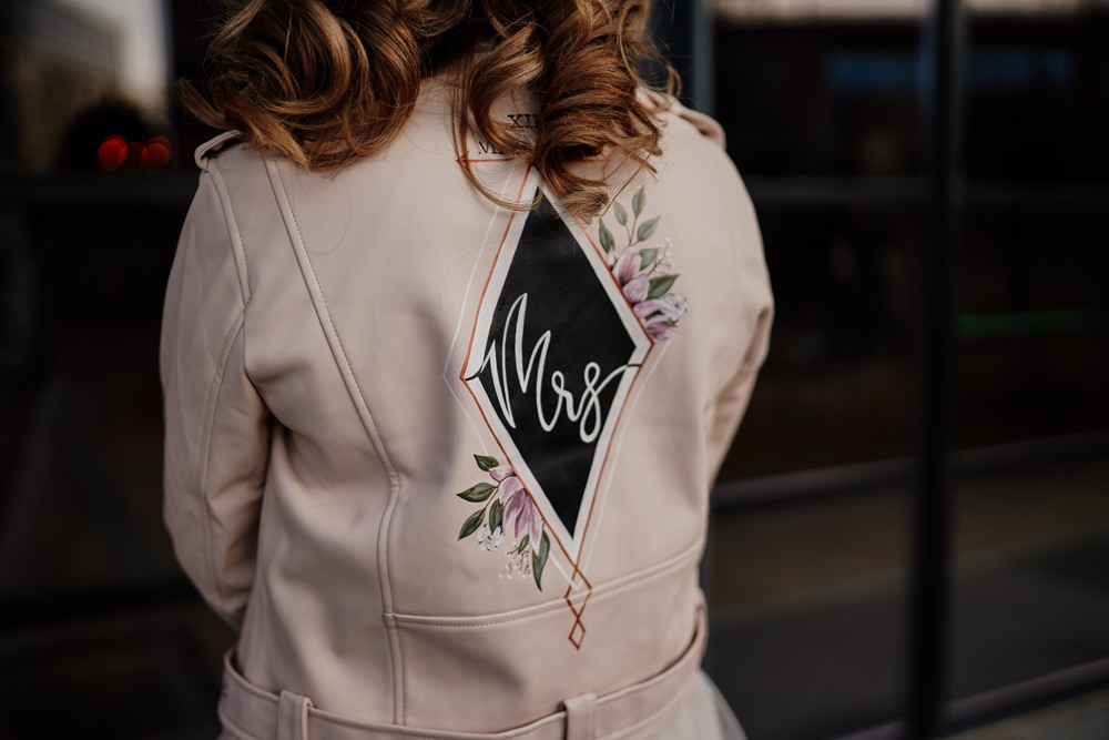 Bride Bridal Jacket Pink Painted Personalised Industrial Wedding Ideas Sam Sparks Photography