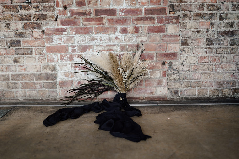 Bride Bridal Bouquet Flowers Pampas Grass Black Ribbon Industrial Wedding Ideas Sam Sparks Photography