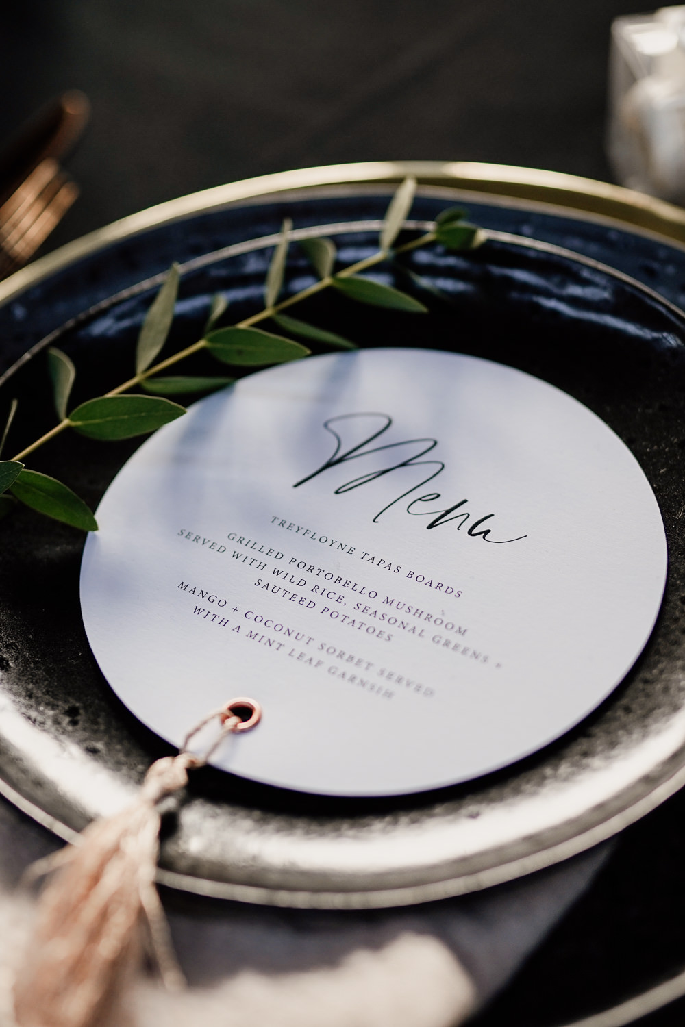Place Setting Decor Stationery Tassel Black Plate Industrial Wedding Ideas Sam Sparks Photography