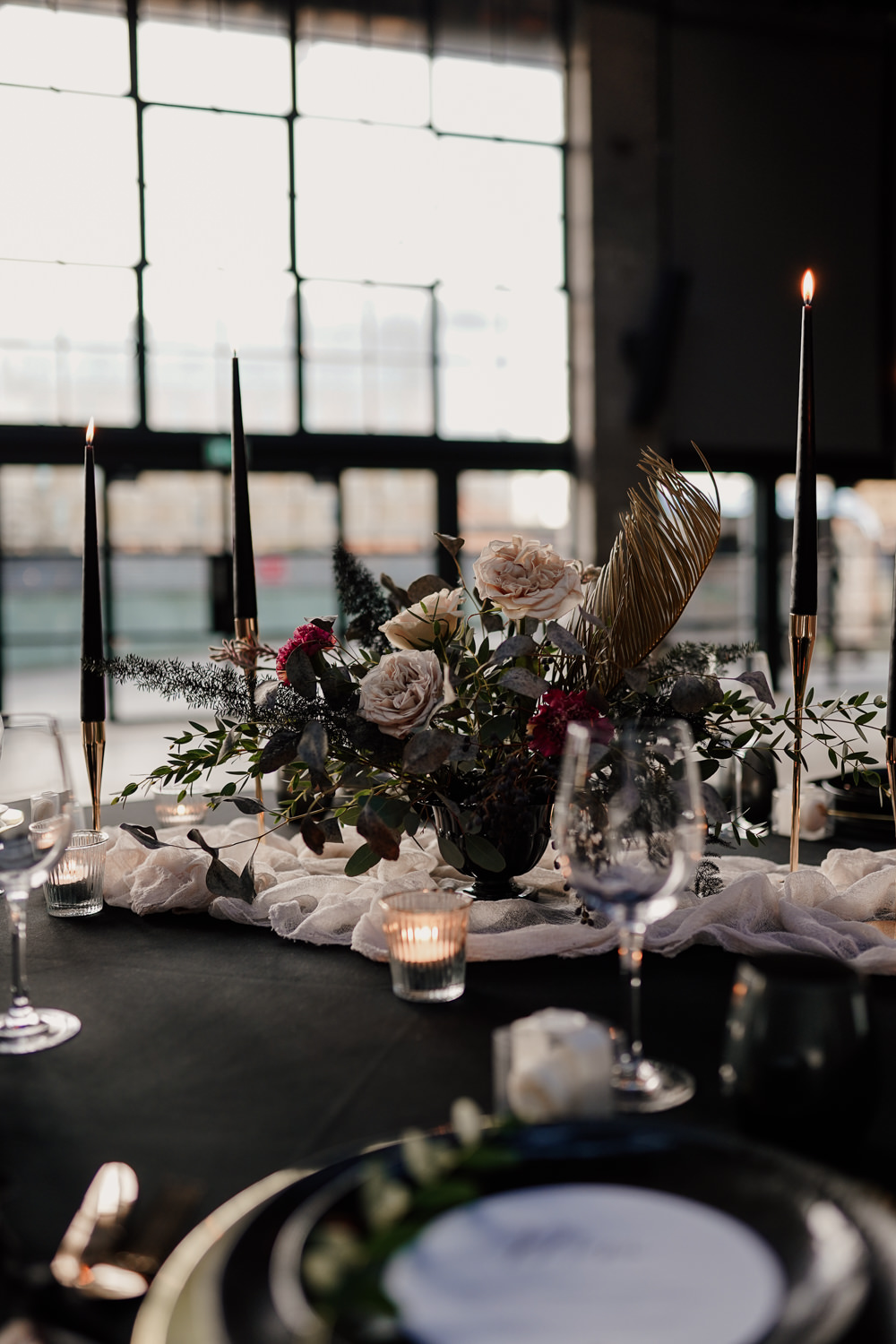 Table Tablescape Decor Black Table Cloth Candles Flowers Pampas Grass Industrial Wedding Ideas Sam Sparks Photography