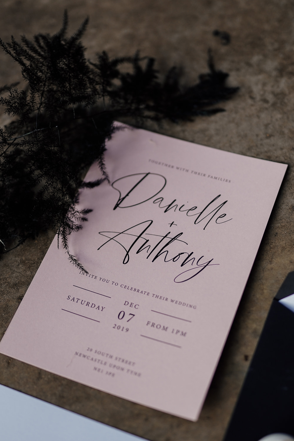 Stationery Invite Invitation Pink Black Industrial Wedding Ideas Sam Sparks Photography
