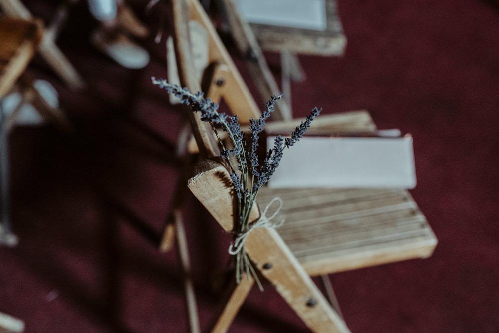 Lavender Flowers Pew End Aisle Chair Red Brick Barn Wedding Jess Soper Photography