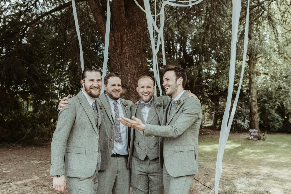 Groom Groomsmen Suits Grey Bow Tie Red Brick Barn Wedding Jess Soper Photography
