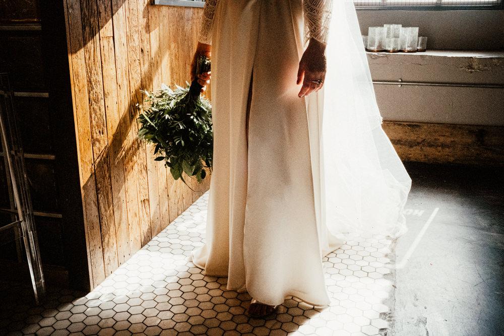 Dress Gown Bride Bridal Lace Sleeves Split Skirt Veil Brewery Wedding Ginger Beard Weddings