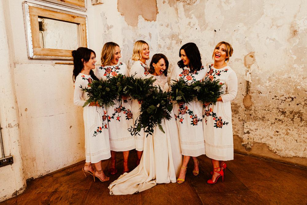 White Bridesmaid Dress Bridesmaids Dresses Brewery Wedding Ginger Beard Weddings