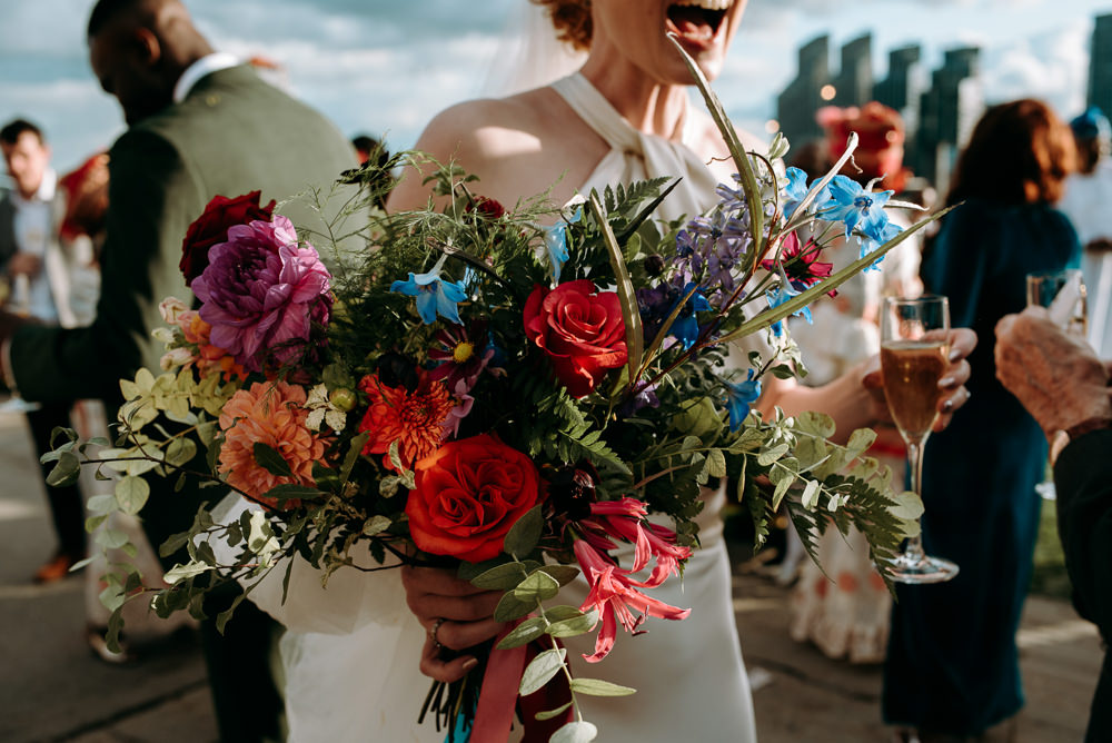 Bouquet Flowers Bride Bridal Colourful Rose Wild British Nigerian Wedding Andrew Brannan Photography