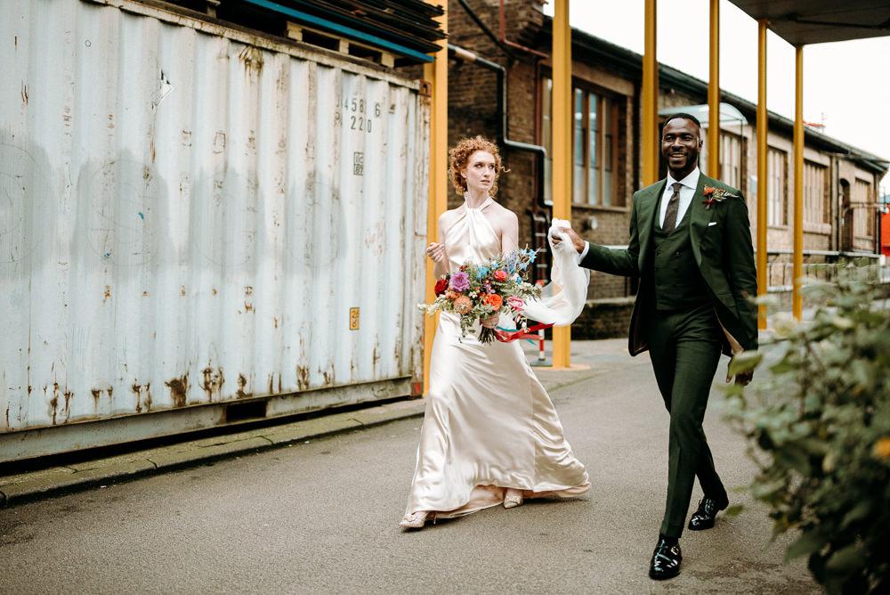 British Nigerian Wedding Andrew Brannan Photography Bride Bridal Dress Gown Halterneck Halfpenny London Veil