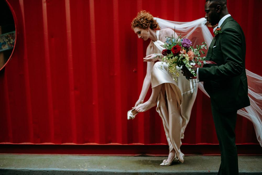 Bride Bridal Dress Gown Halterneck Halfpenny London Veil British Nigerian Wedding Andrew Brannan Photography