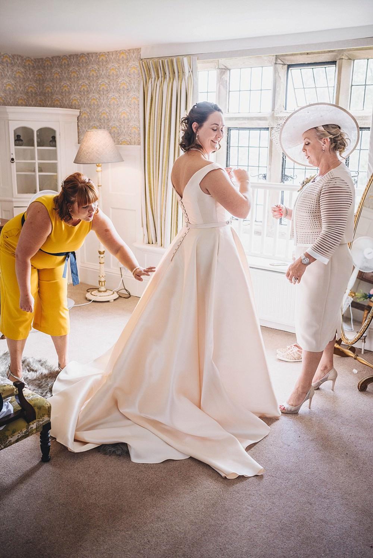 Dress Gown Bride Bridal Train Straps Belt Veil Nicola Anne Broadfield Court Wedding Marta May Photography